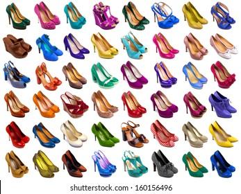 Female shoes collection on white background