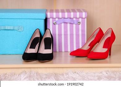 Female shoes in wardrobe