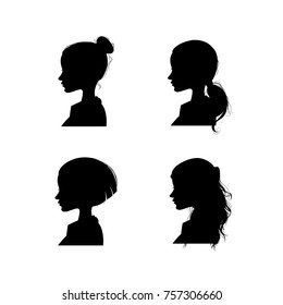 Female silhouette in profile on white background, cartoon illustration