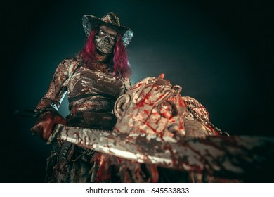 A female slayer with zombie heads.