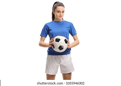 Female soccer player holding a football isolated on white background