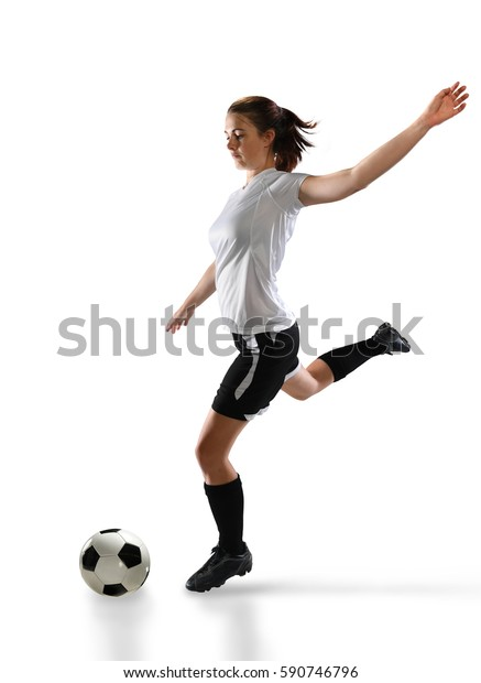 Female soccer player isolated over white background