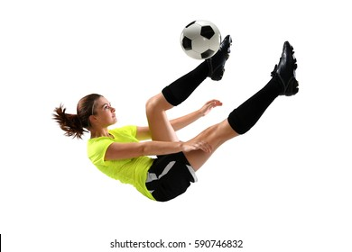 Female soccer player performing bicycle kick isolated over white background