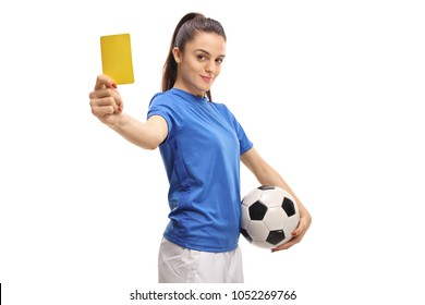 Female soccer player showing a yellow card isolated on white background