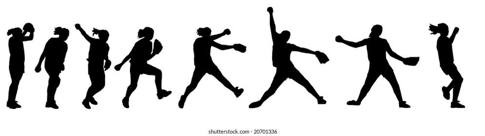 a female softball player pitching