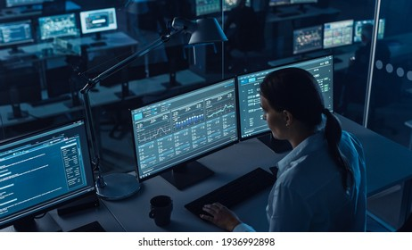 Female Software Engineer Working in a Modern Monitoring Office with Live Analysis Feed with Charts on a Big Digital Screen. Monitoring Room Big Data Scientists and Managers Sit in Front of Computers.