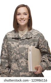 Female Soldier holding books