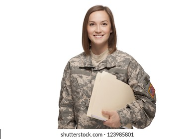 Female Soldier holding files
