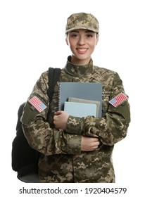 Female soldier with notebooks and backpack on white background. Military education