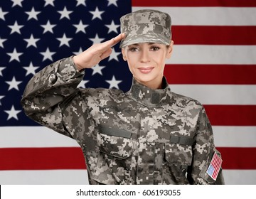 Female soldier on USA flag background