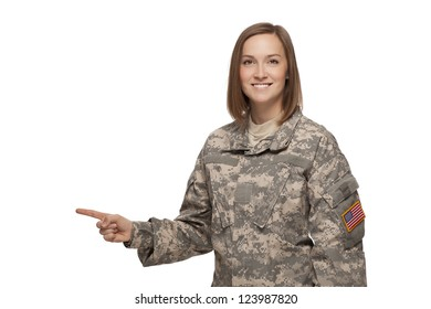 Female soldier pointing to her right
