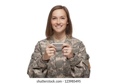 Female Soldier texting