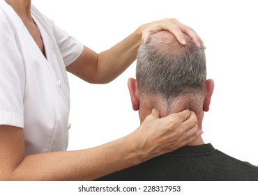 Female sports massage therapist holding male client's head and massaging tight neck muscles with finger and thumbs