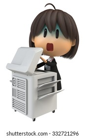 Female staff that pale to use the copy machine