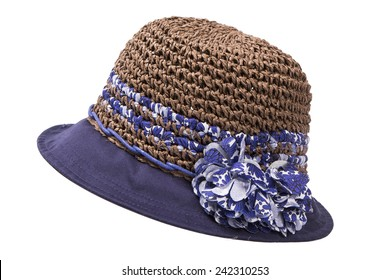 female straw hat with ribbon