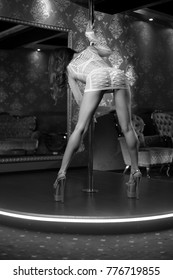 Female striptease on the pole in a nightclub
