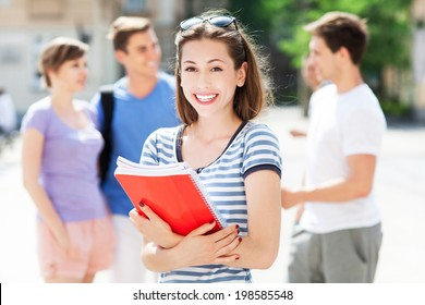 Female student with friends