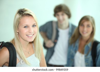Female student and her friends