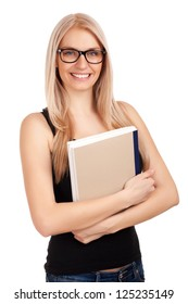 Female student holding books. Isolated on white background