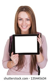 Female Student Holding Digital Tablet Over White Background