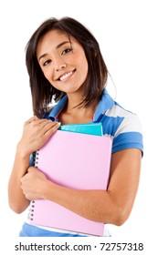 Female student holding notebooks - isolated over white