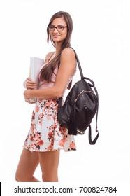 Female student isolated on white