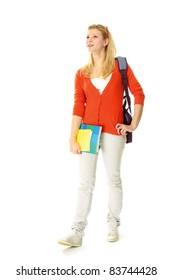 Female student isolated on white background