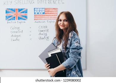 Female student looking at camera. English language school.