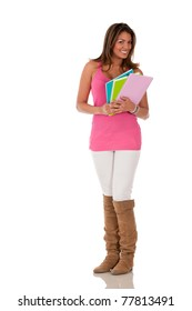 Female student with notebooks - isolated over white