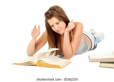 Female student portrait, reading book, isolated over white