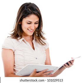 Female student reading from a notebook - isolated over white
