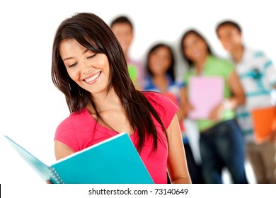 Female student smiling with a group behind - isolated