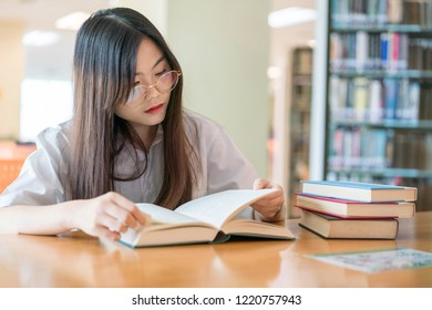 Female student study in the school library