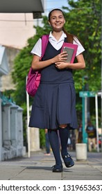 Female Student Teenager Walking To School