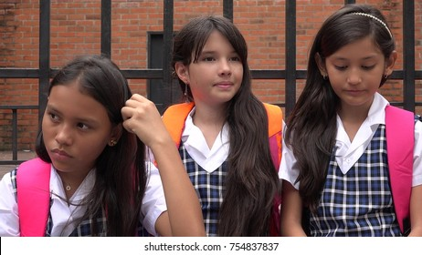 Female Students And Confusion Wearing School Uniforms