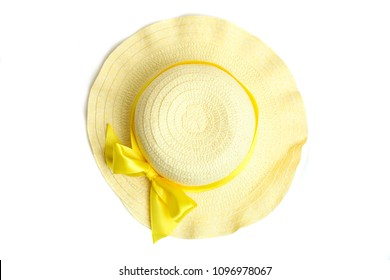 Female summer beach hat isolated on white background.