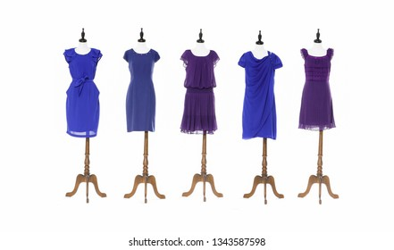 female sundress clothes on six mannequin with on white background
