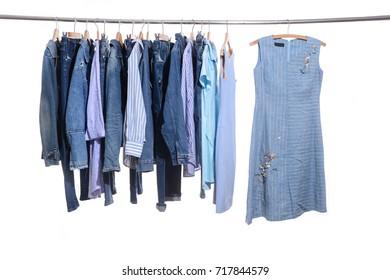 female sundress, jeans shirt, jacket, jeans isolated on hanger