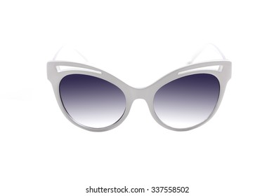female sunglasses of a glamourous form of white color isolate