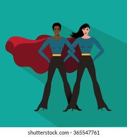 Female superheroes flat design