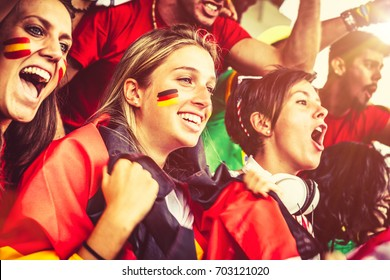 Female Supporters from Different Countries, Soccer Championship