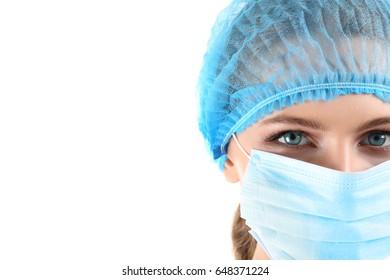 Female surgeon, isolated on white