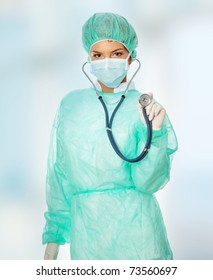 Female surgeon with stethoscope.