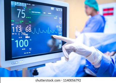 Female surgeon using monitor in operating room.