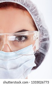 Female Surgeon's Face.  Close up view