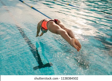 Female swimmer diving into indoor sports swimming pool. Sporty woman practising for competition.