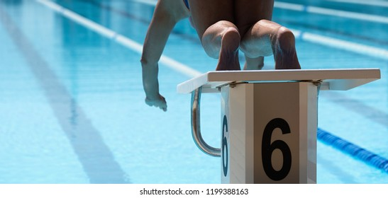 Female swimmer jumps off starting block and start swims in pool