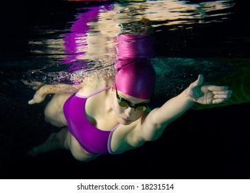 Female Swimmer Underwater