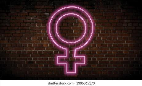 Female symbol neon sign