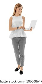 Female teacher with laptop on white background